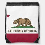 Patriotic drawstring backpack with California Flag