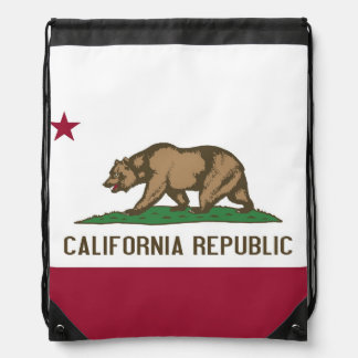 Patriotic drawstring backpack with California Flag