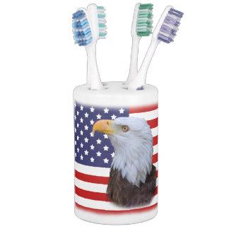 Patriotic  Eagle and USA Flag  Customizable Bath Accessory Sets