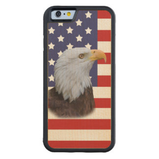 Patriotic  Eagle and USA Flag  Customizable Carved Maple iPhone 6 Bumper Case