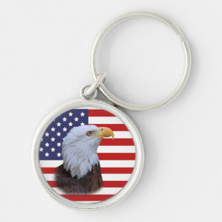 Patriotic  Eagle and USA Flag Key Ring