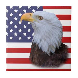 Patriotic Eagle and USA Flag Small Square Tile
