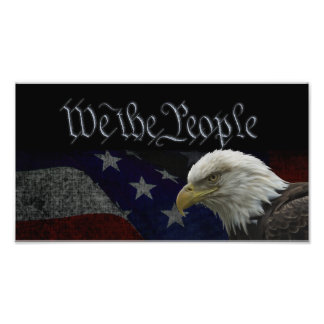 Patriotic Eagle & Flag Photo