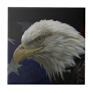 Patriotic Eagle & Flag Small Square Tile