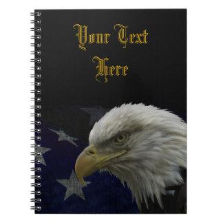Patriotic Eagle & Flag Spiral Notebook