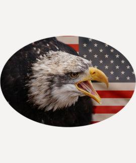 Patriotic Eagle Image Baseball T-Shirt