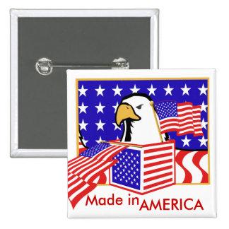 PATRIOTIC EAGLE - MADE IN AMERICA 15 CM SQUARE BADGE