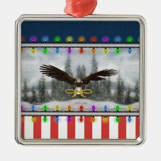 Patriotic Eagle Silver framed Square Ornament