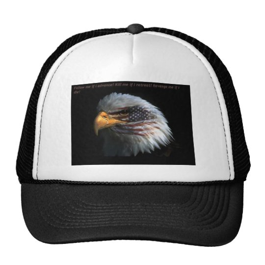 Patriotic Eagle with flag background Cap