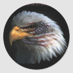 Patriotic Eagle with flag background Classic Round Sticker