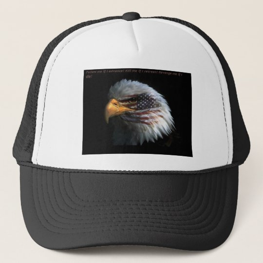 Patriotic Eagle with flag background Trucker Hat