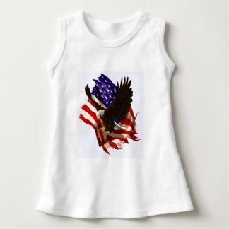 Patriotic Eagle With US Flag Toddler T-shirt Dress