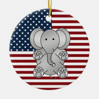 Patriotic elephant christmas ornament