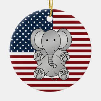 Patriotic elephant round ceramic decoration