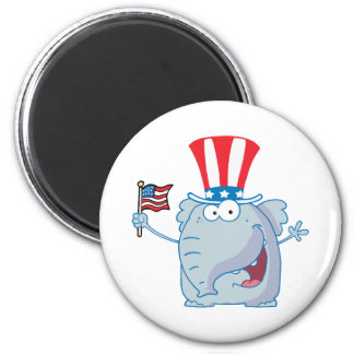 Patriotic Elephant Waving An American Flag 6 Cm Round Magnet
