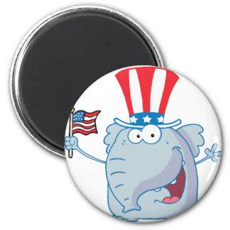 Patriotic Elephant Waving An American Flag Magnets