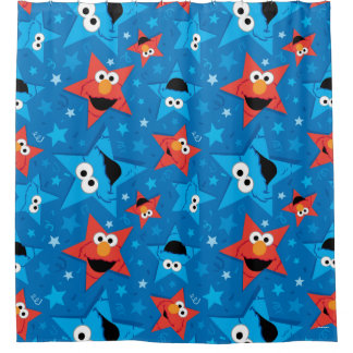 Patriotic Elmo and Cookie Monster Pattern Shower Curtain