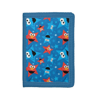 Patriotic Elmo and Cookie Monster Pattern Trifold Wallet
