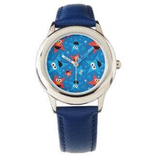 Patriotic Elmo and Cookie Monster Pattern Wrist Watch