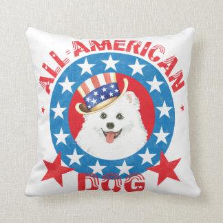 Patriotic Eskie Throw Pillow