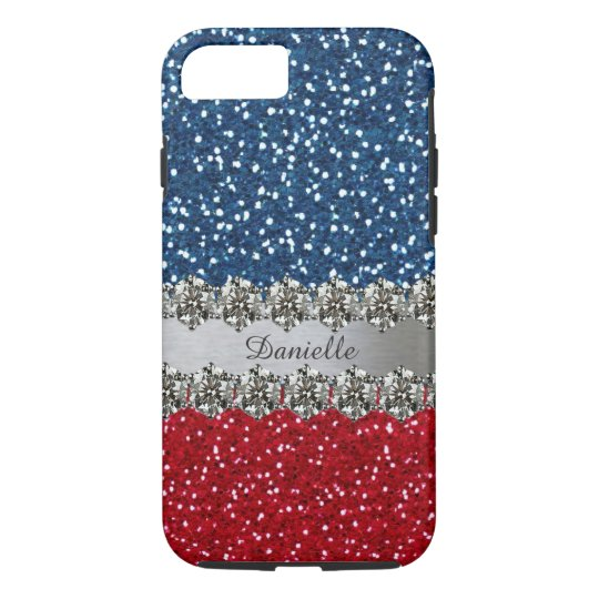 Patriotic Faux Bling Red White Blue Personalised iPhone