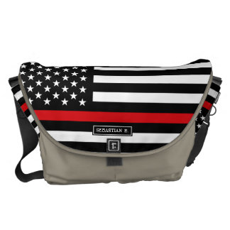 Patriotic Firefighter Style American Flag Messenger Bag