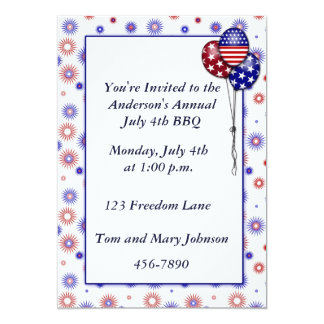 Patriotic Fireworks 13 Cm X 18 Cm Invitation Card