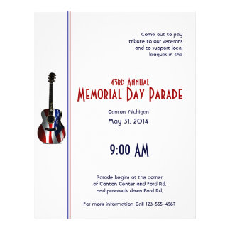 Patriotic Flag Guitar Memorial Day 21.5 Cm X 28 Cm Flyer