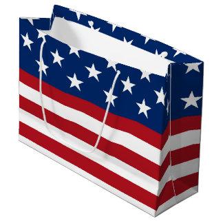 Patriotic Flag pattern July Fourth large gift bag