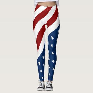 Patriotic Flag Star Design Leggings