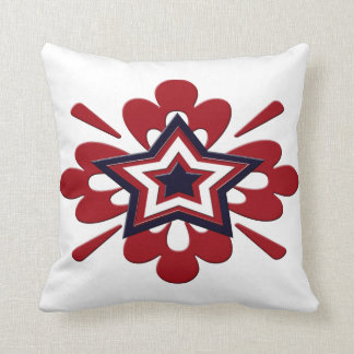 Patriotic Floral Star Cushion