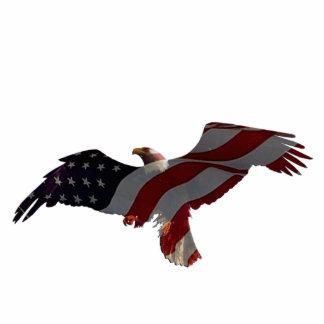 Patriotic Flying Bald Eagle & Flag Sculpted Magnet Photo Sculpture Magnet