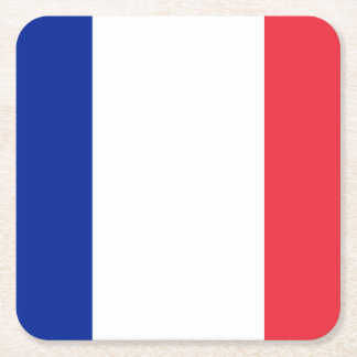 Patriotic French Flag Square Paper Coaster