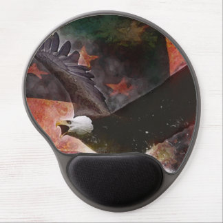 Patriotic Gel Mouse Pad with Bald Eagle and Flag