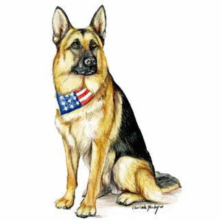 Patriotic German Shepherd Dog Art Key Chain Standing Photo Sculpture