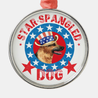 Patriotic German Shepherd Silver-Colored Round Decoration