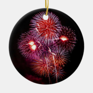 Patriotic Gifts Fireworks from the 4th of July Round Ceramic Decoration