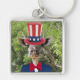 Patriotic Giraffe Keychain