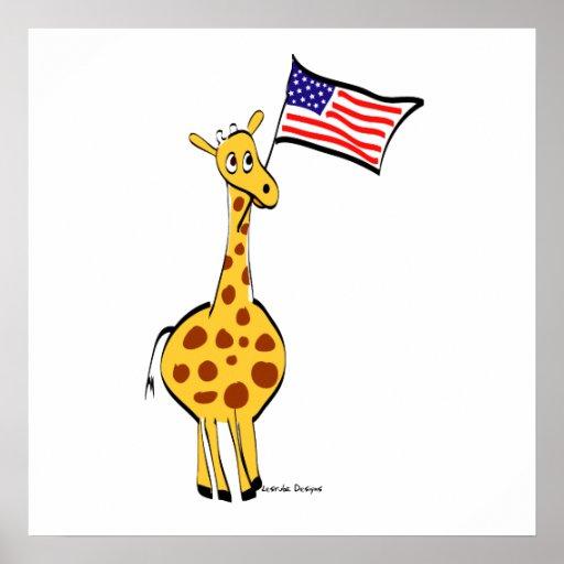 Patriotic Giraffe Poster