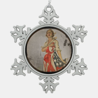 Patriotic Girl Draped in Flag Pewter Snowflake Decoration