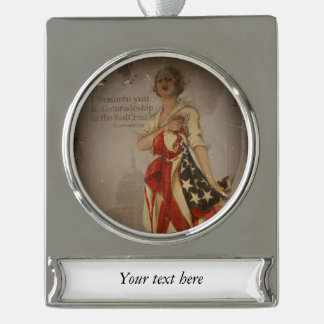 Patriotic Girl Draped in Flag Silver Plated Banner Ornament