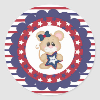 Patriotic Girl Mouse Round Sticker