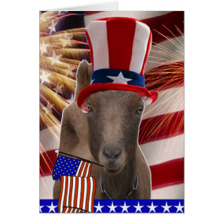 PATRIOTIC GOAT 4th OF JULY GIFTS Greeting Card