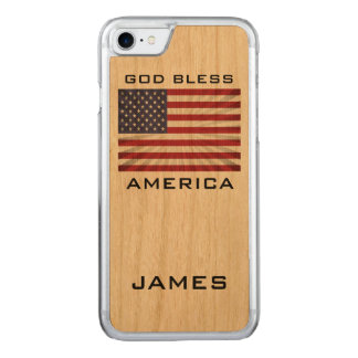Patriotic God Bless America American Flag Monogram Carved iPhone 8/7 Case