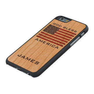 Patriotic God Bless America American Flag Monogram Carved® Cherry iPhone 6 Slim Case