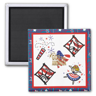 Patriotic God Bless America Liberty and Freedom Ma Square Magnet