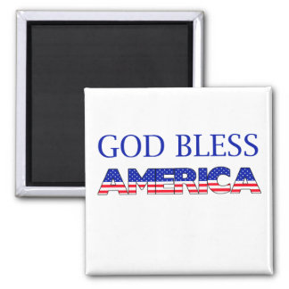 Patriotic God Bless America Square Magnet
