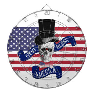 Patriotic God Bless America tattoo style dartboard