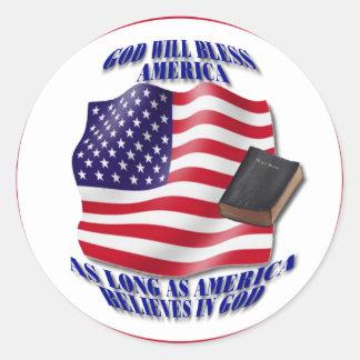 Patriotic-GodBlessAmerica.png Classic Round Sticker