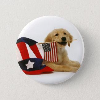 Patriotic Golden Puppy 6 Cm Round Badge